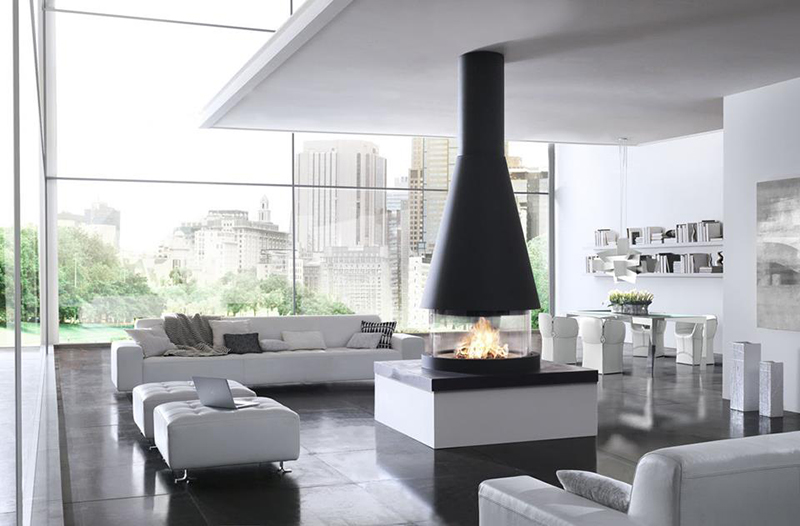 The Copenhagen is part of the unique Panoramic fireplace collection by Italian stovemakers Piazzetta.