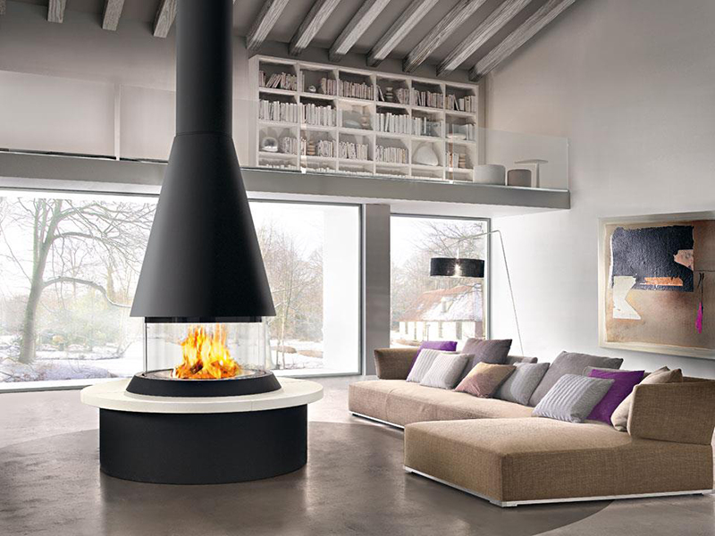 The Marvik is part of the unique Panoramic fireplace collection by Italian stovemakers Piazzetta.