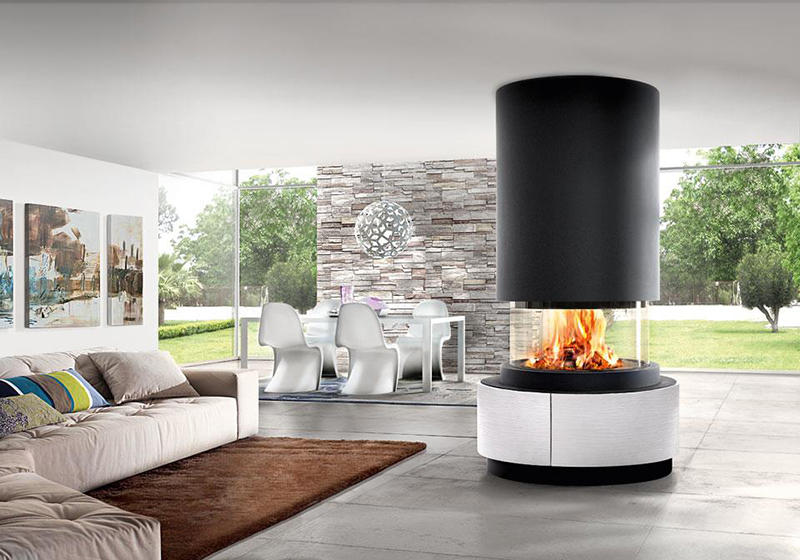 The Oslo is part of the unique Panoramic fireplace collection by Italian stovemakers Piazzetta.