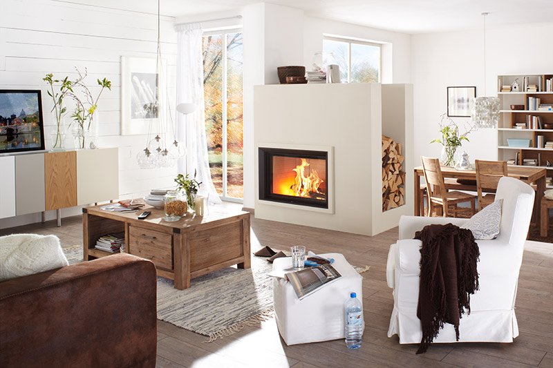 Brunner Style Wood Burning Front Glass Firebox is available in various sizes.