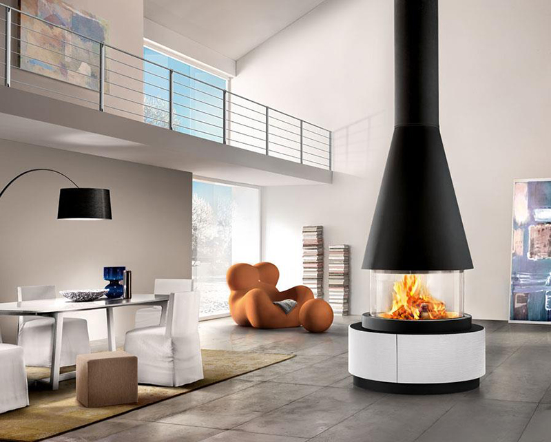 The Uppsala is part of the unique Panoramic fireplace collection by Italian stovemakers Piazzetta.
