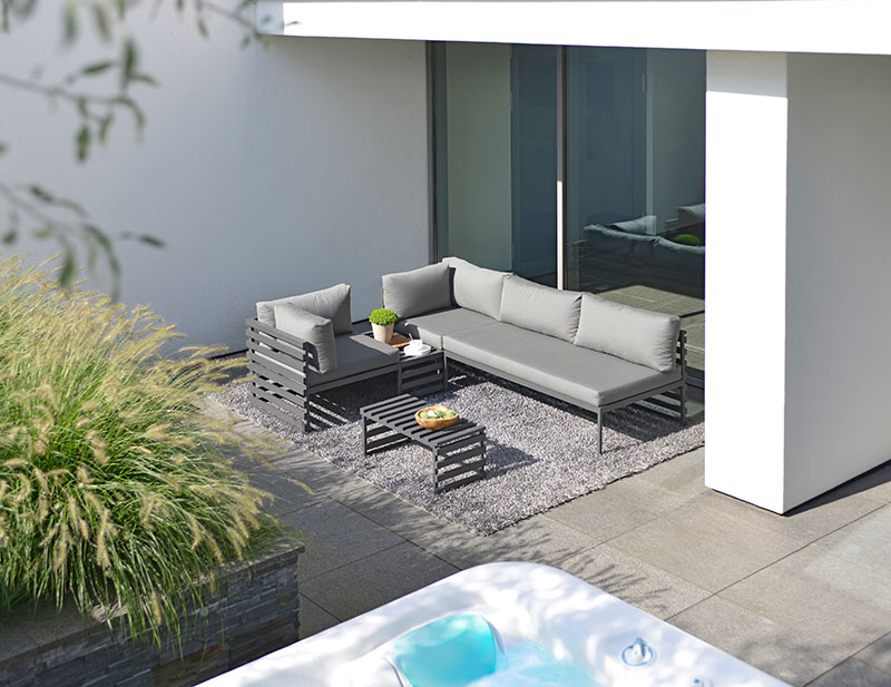 This contemporary collection is perfect for the outdoor space of any modern home.