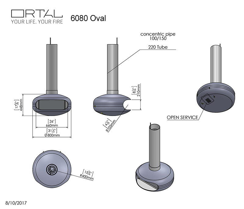 Ortal Oval 60-80 Hanging Fire Dimensions