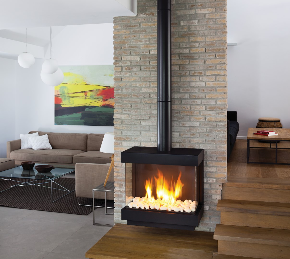 Ortal Standalone Front And Two Side Gas Fire Up To 75cm Wide