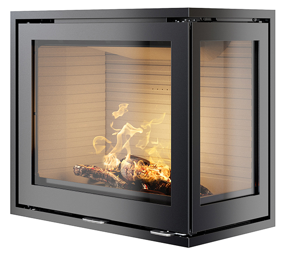 The Rais 600-2 Corner Wood Burning Fireplace Insert, available from Robey's of Derbyshire