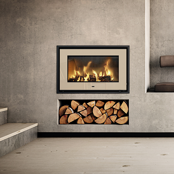 Rais 700 5kw wood burning insert fire from robeys for Modern wood burning insert
