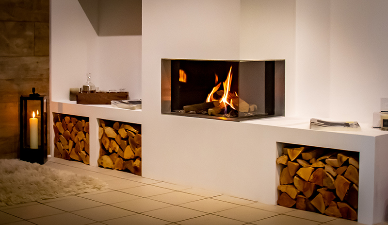 The RAIS Visio 90 LC Corner Facing Built-In Gas Fire, available from Robeys