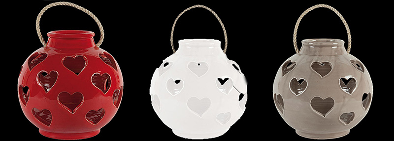 The Virginia Casa Large Ceramic Heart Lantern, available from Robeys in Derbyshire