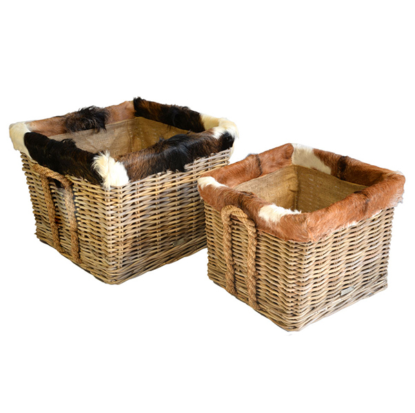 Log Basket – Square Goat Skin Trimmed & Lined Rattan Log Basket on wheels