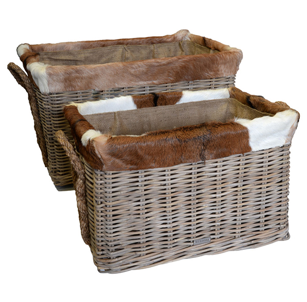 Log Basket – Oblong Goat Skin Trim & Lined Rattan Log Basket on wheels