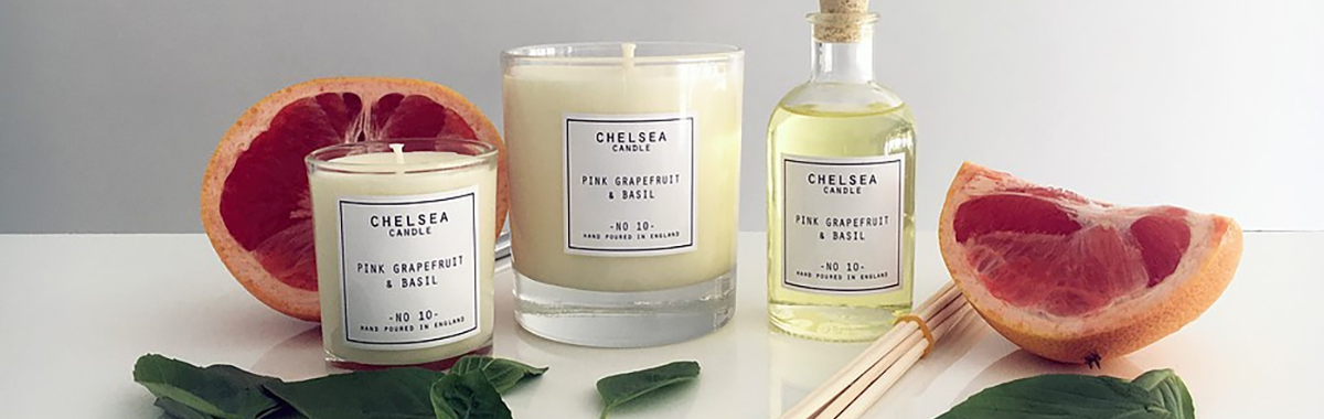 Chelsea Candles – Mini Pink Grapefruit and Basil candle 90ml