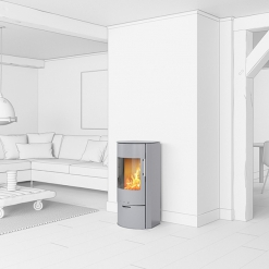 Rina Classic 4kw Wood Burning Stove Silver - EX DISPLAY