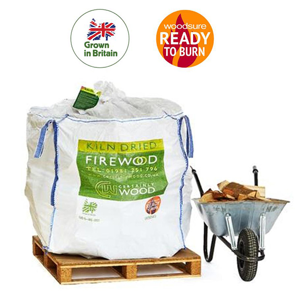 Certainly Wood – Kiln Dried Firewood Logs Bulk Bag 1.2m³  Prices from:-