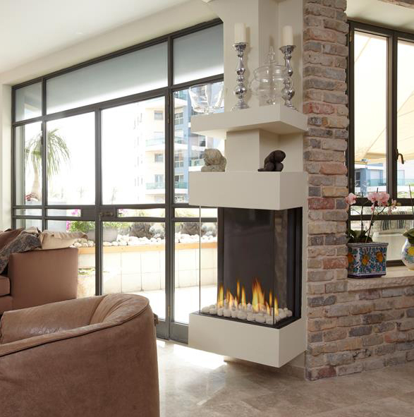 Ortal – Clear TS 40 High Three Sided Glass Gas Fire