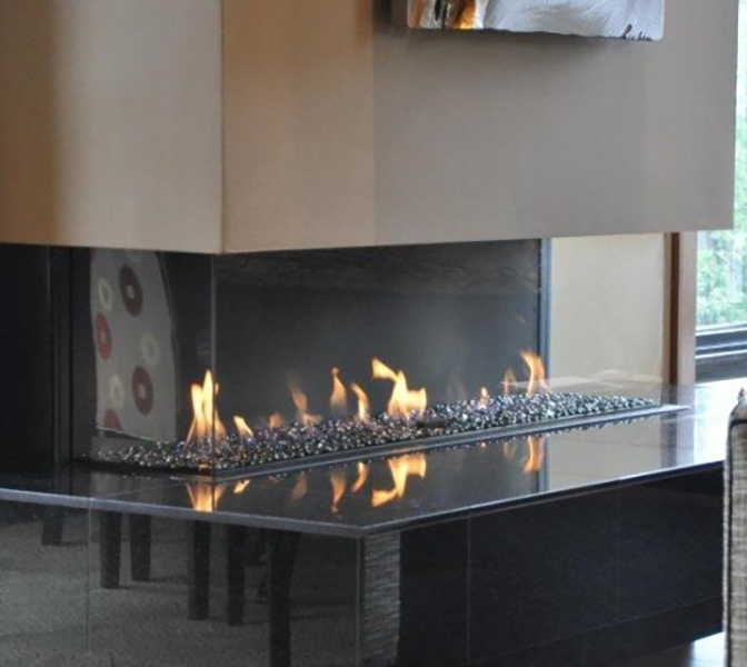 Ortal – Clear TS 170 Three Sided Glass Gas Fire