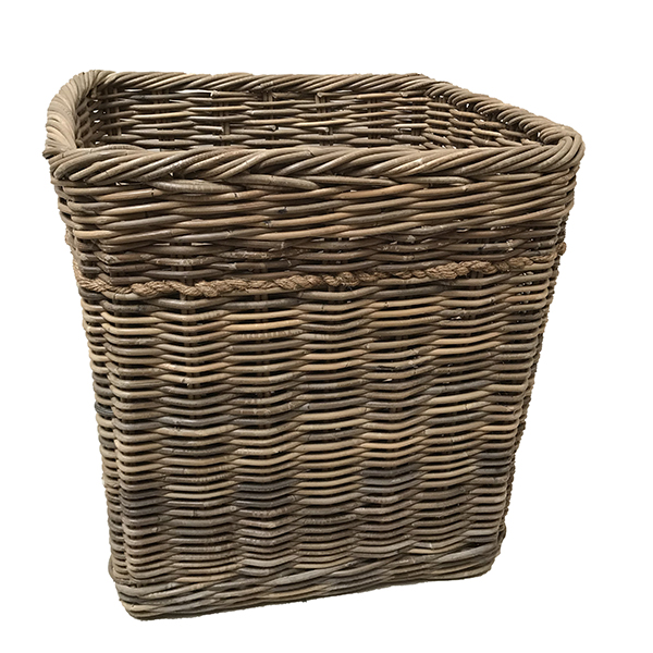 Log Basket – Medium Tall Oblong Rattan Log Basket  48 x 36 x 50cm