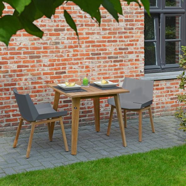 Borek Outdoor – Teak Chios Table and Chairs without Arms