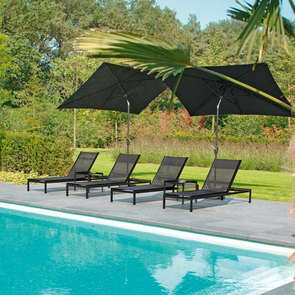 Borek Outdoor – Ibiza Lounger with Alto Side Table and Lucerne Parasol