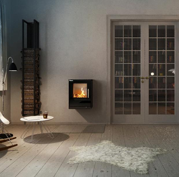 Rais – Q-Tee Wall Hung 5kw Wood Burning Stove