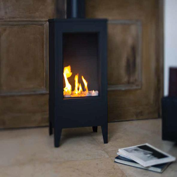 Ortal – Standalone Small Square Gas Fireplace Ex Display