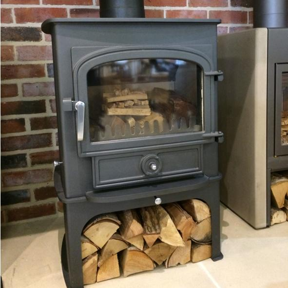 Clearview – Vision 500  Wood Burning Stove Charcoal Grey and Log Store EX DISPLAY - Under Fire